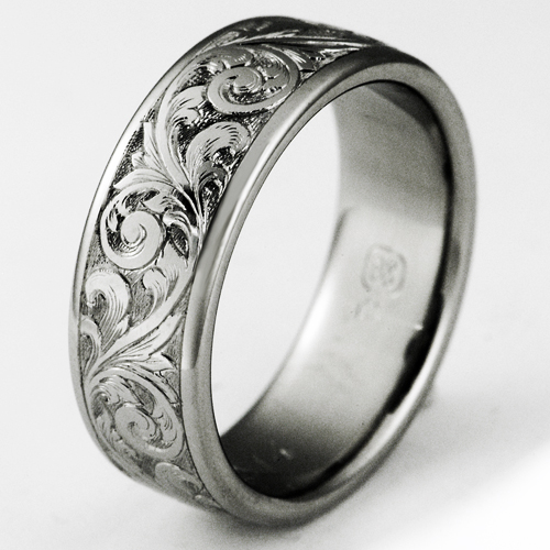 Scroll work wedding bands