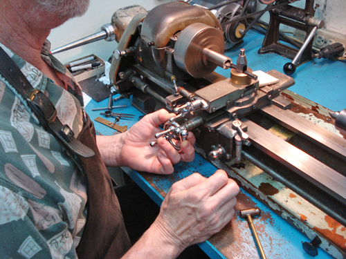 Here is Chris, milling a solid titanium rod
