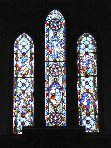 Stained glass inside the Manaccan church