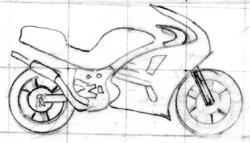 Sketch of motorcycle