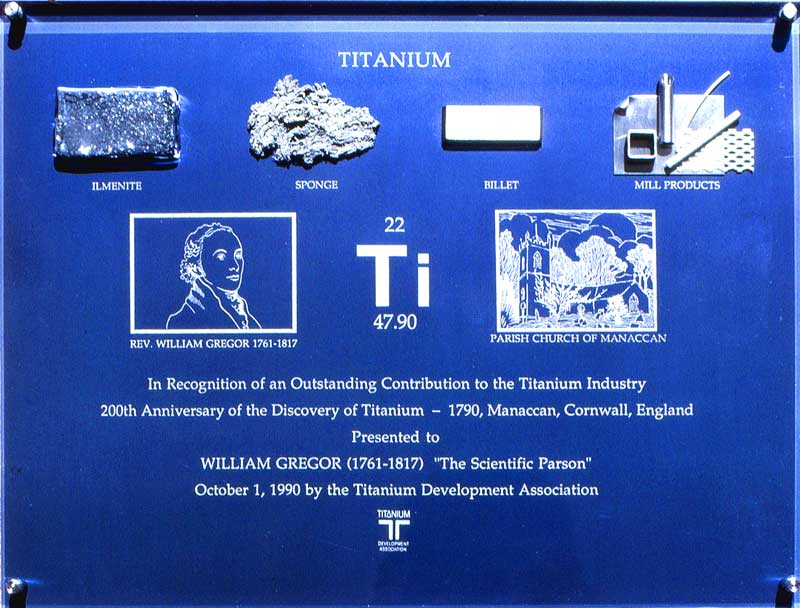 Plaque for the 200th anniversary of the discovery of titanium by William Gregor