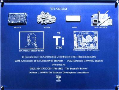 200th anniversary plaque for the discovery of titanium