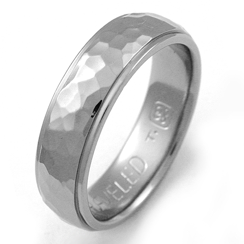 Baylor 1 Anium Ring With Hammered Finish Wedding Rings Handcrafted By Exotica Jewelry