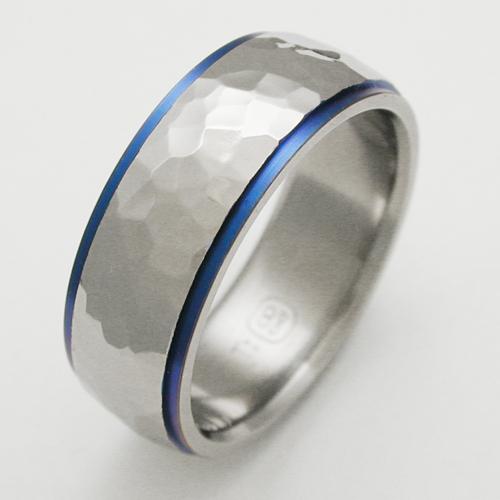 Baylor 2 titanium ring with hammered finish Titanium Wedding Rings