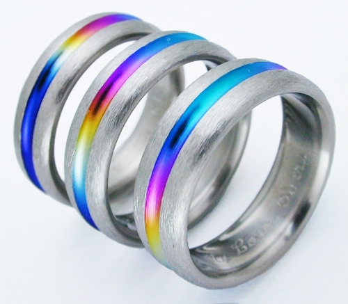bayou titanium ring with rainbows titanium wedding rings handcrafted by exotica jewelry - Rainbow Wedding Rings