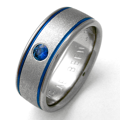 Billings 1 Titanium Ring With Sapphires | Titanium Wedding Rings,  Handcrafted By Exotica Jewelry