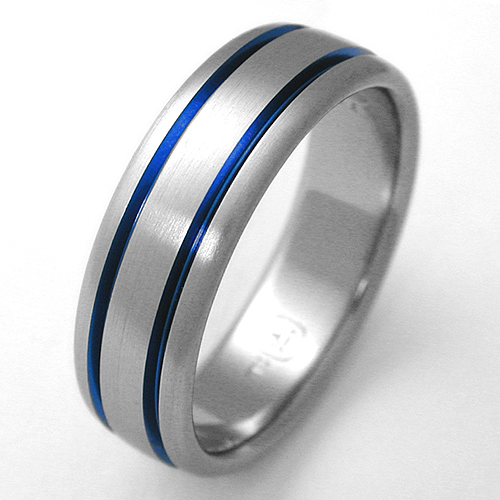Bingen Titanium Ring With Grooves