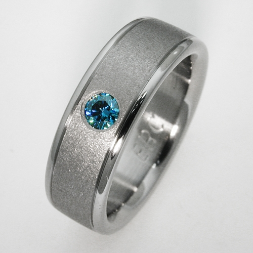 birken 2 titanium ring with blue diamonds titanium wedding rings handcrafted by exotica jewelry - Blue Diamond Wedding Rings