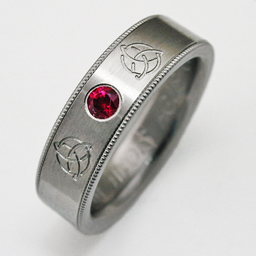 Celeron titanium ring with Celtic style Titanium Wedding Rings