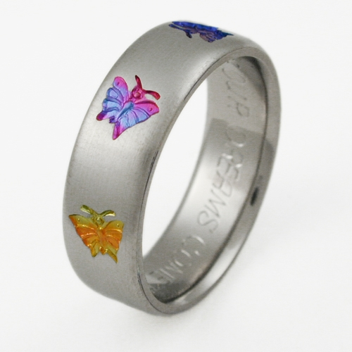 daphne 1 titanium ring with butterflies titanium wedding