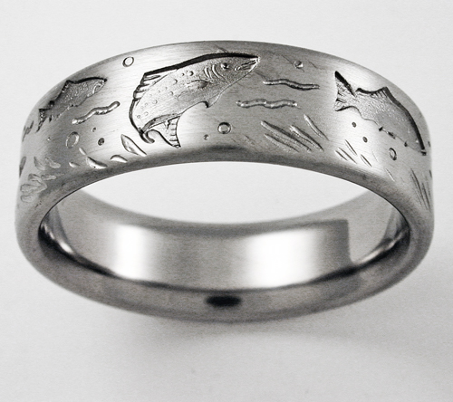 desoto 1 titanium ring with trout titanium wedding rings handcrafted by exotica jewelry - Titanium Wedding Rings