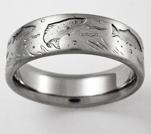 DeSoto 1 titanium ring with trout Titanium Wedding Rings