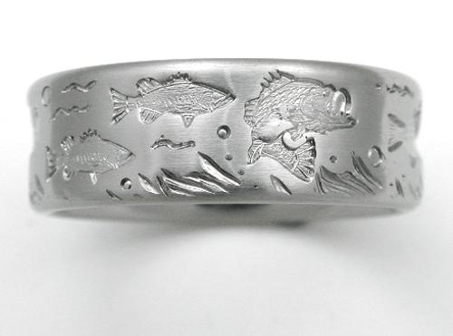 DeSoto 3 titanium ring with bass Titanium Wedding Rings