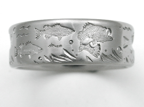 Fishing Wedding Ring | Desoto 3 Titanium Ring With Bass Titanium Wedding Rings