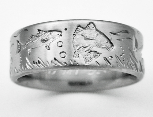 Desoto 4 Titanium Ring With Fish Titanium Wedding Rings