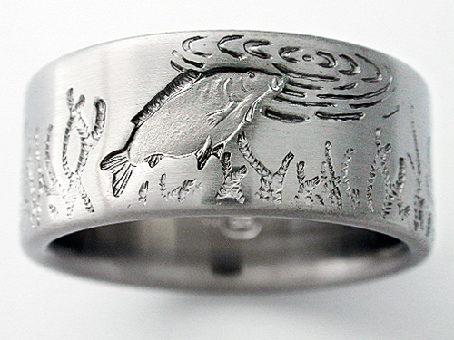 DeSoto 5 titanium ring with carp Titanium Wedding Rings
