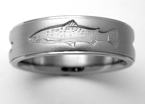 Dunkirk 1 titanium ring with fish titanium wedding rings for Fishing wedding band