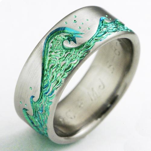 Eastbourne 1-b titanium ring with waves | Titanium Wedding ...