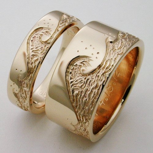 Eastbourne 2 Anium Ring With Waves Wedding Rings Handcrafted By Exotica Jewelry