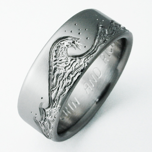 eastbourne 3 titanium ring with waves titanium wedding rings handcrafted by exotica jewelry - Titanium Wedding Rings