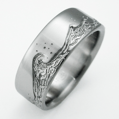 Eastbourne 3 Anium Ring With Waves Wedding Rings Handcrafted By Exotica Jewelry