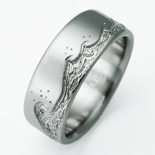 Eastbourne 3 titanium ring with waves | Titanium Wedding