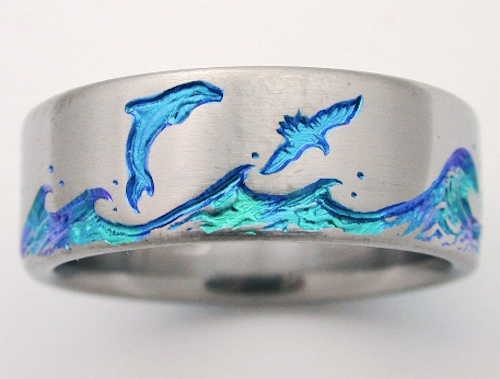 echo 2 titanium ring with dolphins titanium wedding rings handcrafted by exotica jewelry - Dolphin Wedding Rings