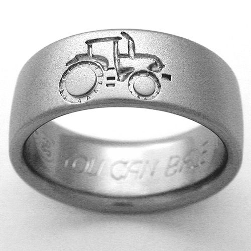 emporia 1 titanium ring with tractors titanium wedding rings handcrafted by exotica jewelry - Country Wedding Rings