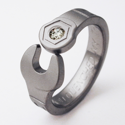 Enfield 1 titanium ring with wrenches Titanium Wedding Rings
