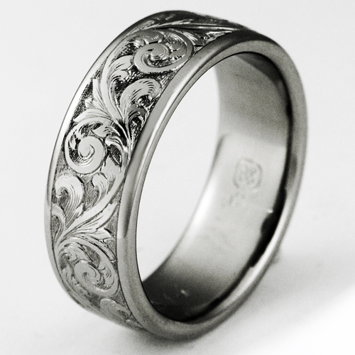 Nice Exeter 1 Titanium Ring With Scrollwork | Titanium Wedding Rings,  Handcrafted By Exotica Jewelry