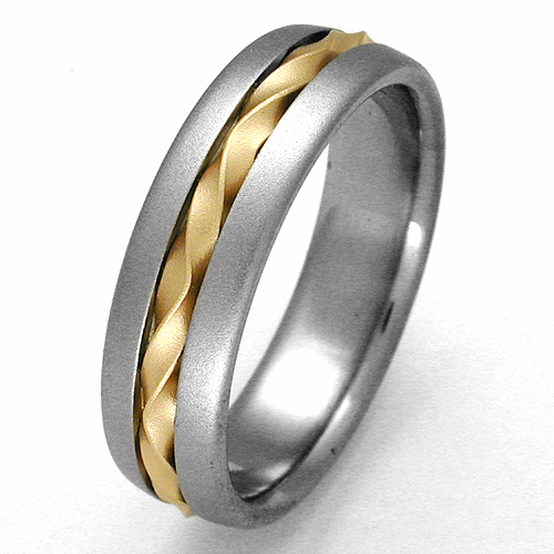 Genoa 1 Anium Ring With Gold Wedding Rings Handcrafted By Exotica Jewelry