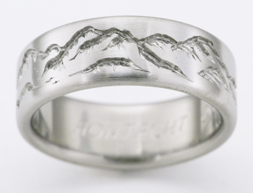 Montana 2 Titanium Ring With Mountains | Titanium Wedding Rings,  Handcrafted By Exotica Jewelry