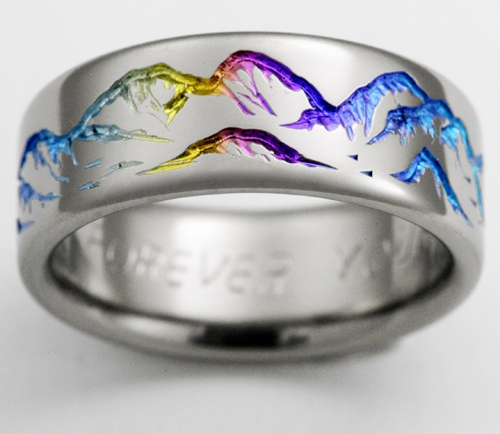 pride lgbt ring products engagement wedding women center jewelry groove anodized partner silver tungsten rings titanium life rainbow unisex inlay black men