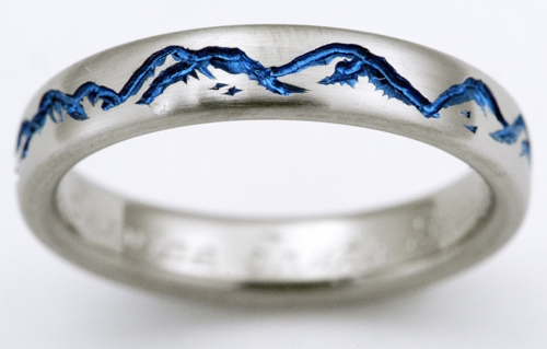 Montclair 2 Anium Ring With Mountains Wedding Rings Handcrafted By Exotica Jewelry