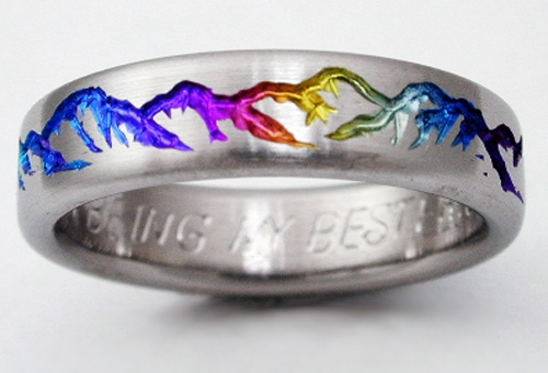 montclair 2 titanium ring with mountains titanium wedding rings handcrafted by exotica jewelry - Rainbow Wedding Rings