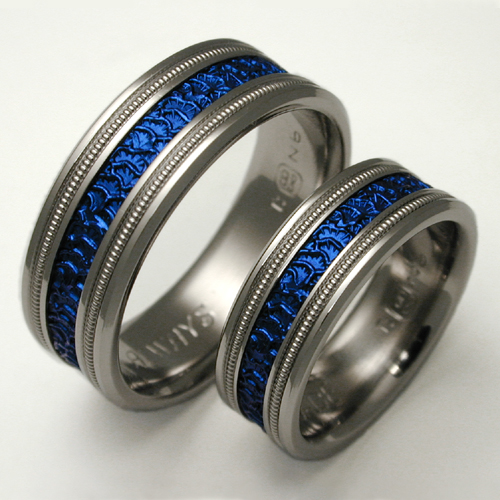 Nikolai Set Anium Ring With Niobium Wedding Rings Handcrafted By Exotica Jewelry