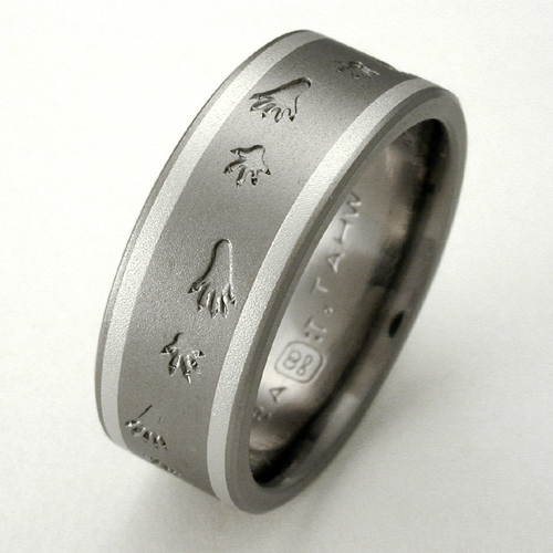 silvis titanium ring with raccoon tracks titanium wedding rings handcrafted by exotica jewelry - Titanium Wedding Rings