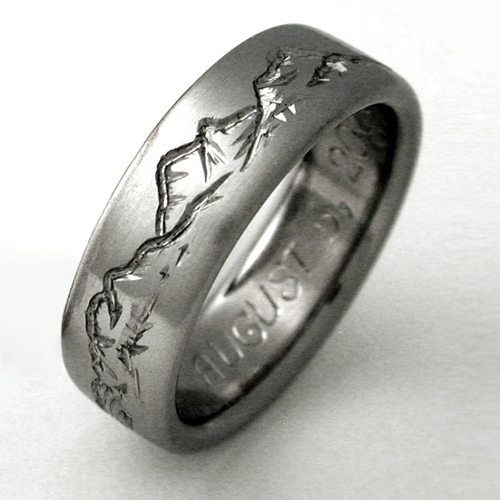 Little cabin in the titanium woods Titanium Wedding Rings